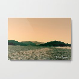 Sunsetting landscape photography of sky, lake and mountain. Metal Print