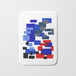 Modern Mid Century Abstract Geometric Cube Square Acrylic Painting Blue With Red Accents Bath Mat