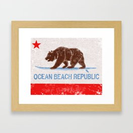 Ocean Beach Republic Vintage Framed Art Print