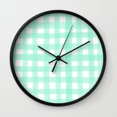 Gingham Mint Wall Clock