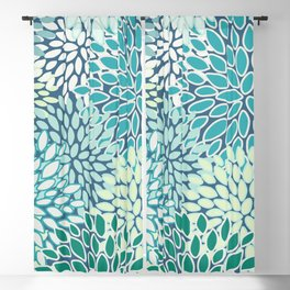 Floral Pattern, Teal, Blue, Green Blackout Curtain