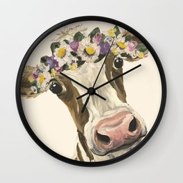 Cow Art, Flower Crown Cow Art Wall Clock