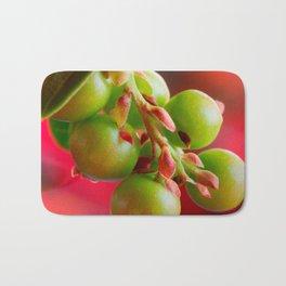 Green Berries Red Background #society6 #decor #buyart Bath Mat