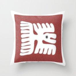 Red Mayan bird Throw Pillow