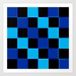 Blue & Black 3D Checkerboard Art Print