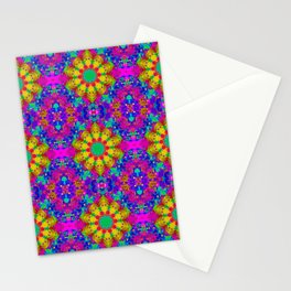 Pink Turquoise and Yellow Retro Pattern Stationery Cards