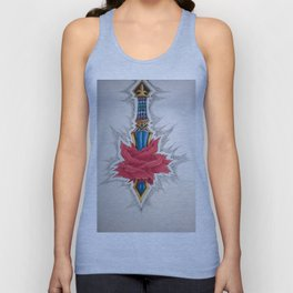 Sword piercing a Rose Unisex Tank Top