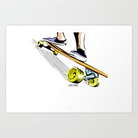 skate Art Prints featuring skate by Cal ce tin
