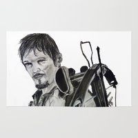 daryl Area & Throw Rugs featuring Daryl Dixon by Brittany Ketcham