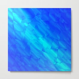 Glowing metallic blue fragments of yellow crystals on irregularly shaped triangles. Metal Print