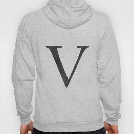 Letter V Initial Monogram Black and White Hoody