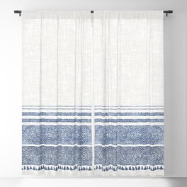 FRENCH LINEN CHAMBRAY TASSEL Blackout Curtain