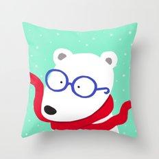 Hipster Polar Bear Throw Pillow