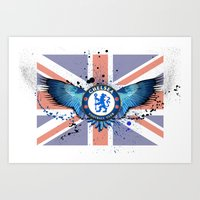 chelsea fc Art Prints featuring Chelsea FC by Future Illustrations- Artwork by Julie C