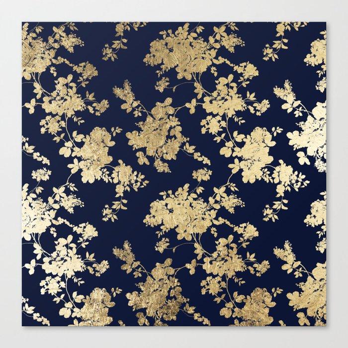 Elegant vintage navy blue faux gold flowers Leinwanddruck