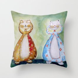 les chats Throw Pillow