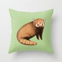 red panda Throw Pillows featuring Red Panda by Sophie Corrigan