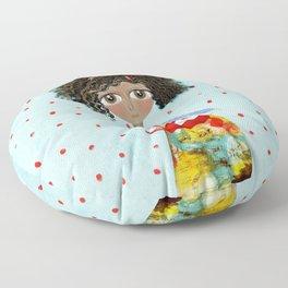 Red Bird Pet Doll Grungy Polka Dots Floor Pillow