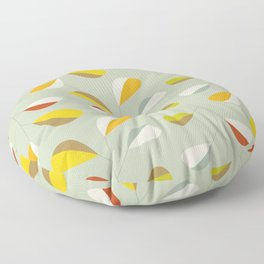 Mid Century Modern Graphic Leaves Pattern 1. Vintage green Floor Pillow