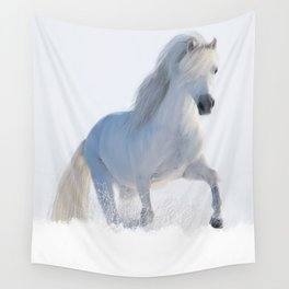 Albus the white horse galloping through a snow drift Wall Tapestry