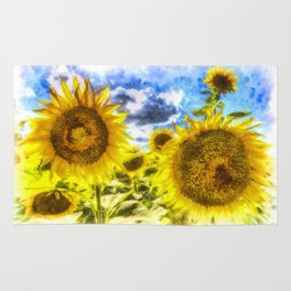 Summers Day Sunflowers Art Rug