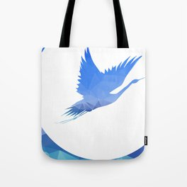 Hand holding flying bird. Vector illustration. Tote Bag
