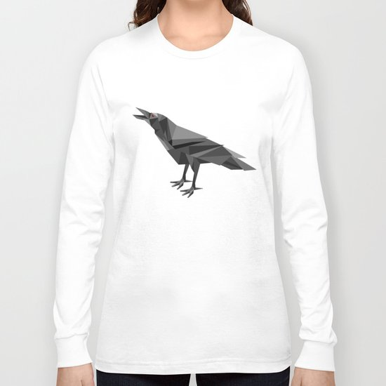 Raven Geometric Grey Triangles Long Sleeve T-shirt