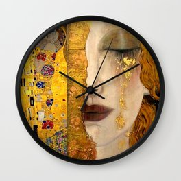 Gustav Klimt portrait The Kiss & The Golden Tears (Freya's Tears) No. 2 Wall Clock