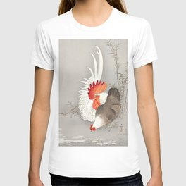 Rooster and hen in the field  - Vintage Japanese Woodblock Print Art T-shirt