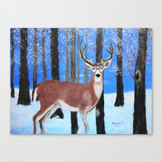 Buck by the trees Canvas Print