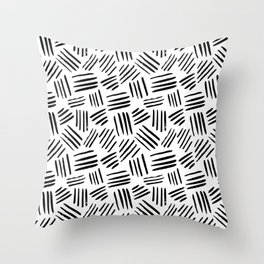 Abstract black white watercolor brushstrokes motif Throw Pillow