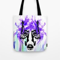 her art Tote Bags featuring Her by Aaron Galaxy