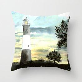 Tybee Island Lighthouse Nautical Art Throw Pillow