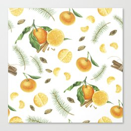 Tangerines, spices and branches of tree Canvas Print