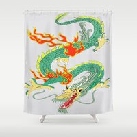 chinese Shower Curtains featuring Chinese Dragon by J&C Creations