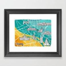 Leipzig Map: Buildings Edition Framed Art Print