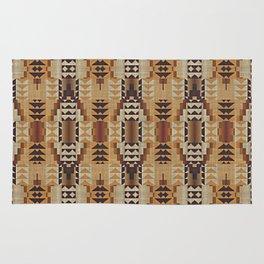 Orange Khaki Dark Brown Mosaic Pattern Rug