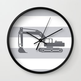 gray on gray excavator Wall Clock