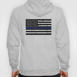 Police Thin Blue Line Flag Hoody