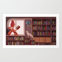 bookworm Art Prints featuring Bookworm by Joifish