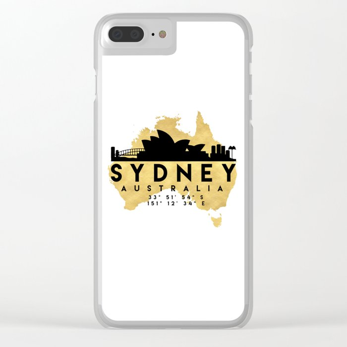 Clear Map Of Australia.Sydney Australia Silhouette Skyline Map Art Clear Iphone Case By Deificusart