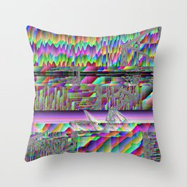 glitch art waves acid trip abstract space pixel rainbow 90s oldschool Throw Pillow