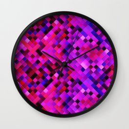 Purple Red Lilac Bright Squares Wall Clock