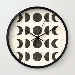 Moon Phases - Black on Cream Wall Clock