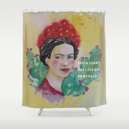 frida y las flores Shower Curtain