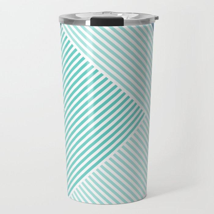 Teal Vibes - Geometric Triangle Stripes Travel Mug