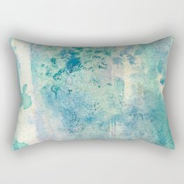 Growth : green, aqua, teal, purple, blue, and cream abstract ink drawing Rectangular Pillow