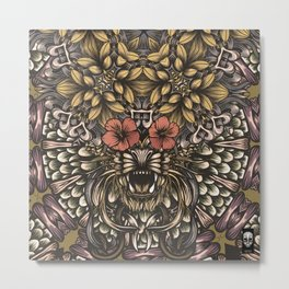 Tiger and flowers Metal Print