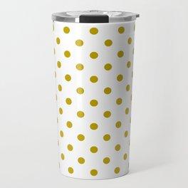 White and Gold Polka Dots Travel Mug
