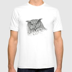 Owl (G2-011)  bubo bubo  White Mens Fitted Tee MEDIUM
